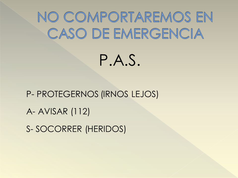 NO COMPORTAREMOS EN CASO DE EMERGENCIA