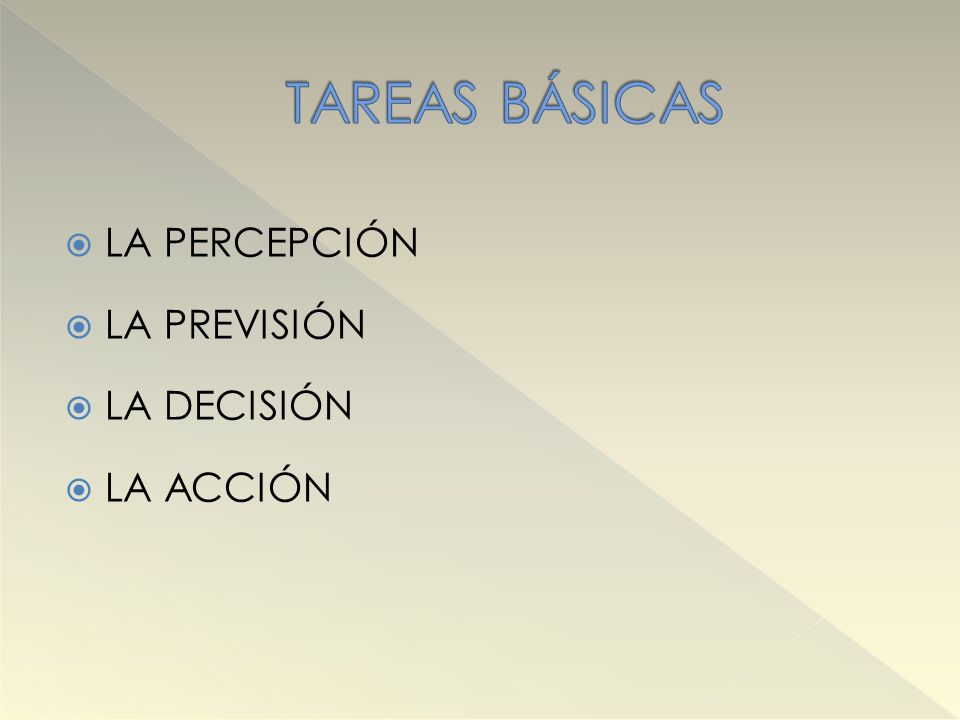 TAREAS BÁSICAS LA PERCEPCIÓN LA PREVISIÓN LA DECISIÓN LA ACCIÓN