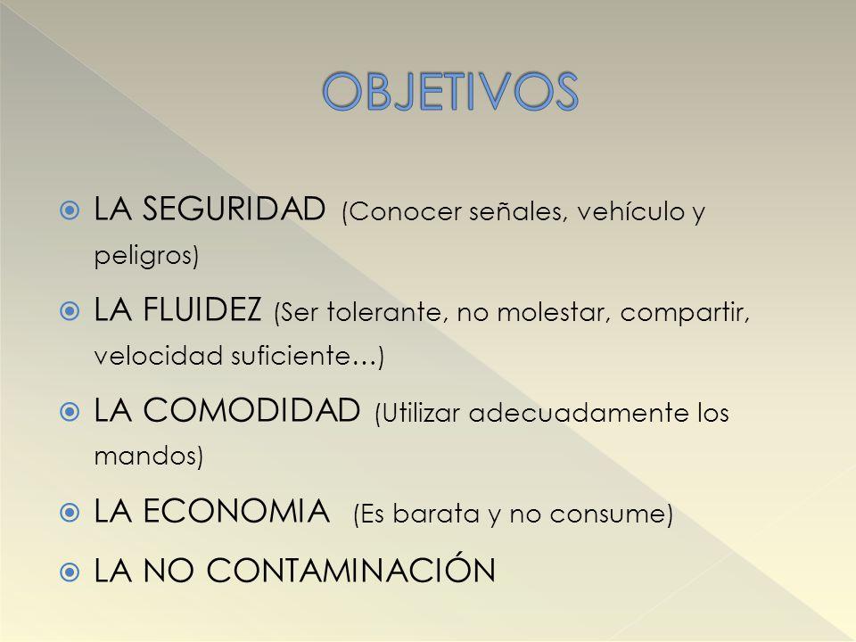 OBJETIVOS LA SEGURIDAD (Conocer señales, vehículo y peligros)
