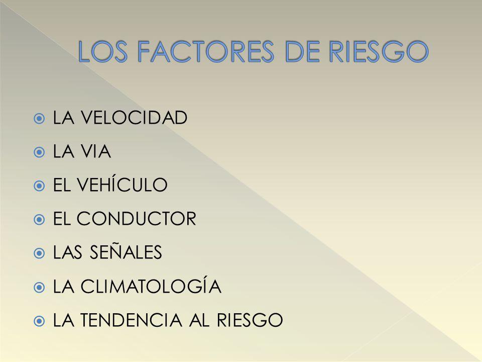 LOS FACTORES DE RIESGO LA VELOCIDAD LA VIA EL VEHÍCULO EL CONDUCTOR