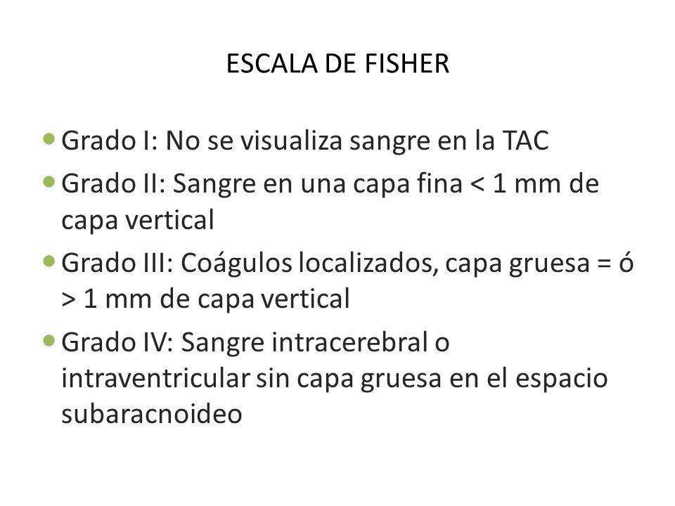 ESCALA DE FISHER Grado I: No se visualiza sangre en la TAC. Grado II: Sangre en una capa fina < 1 mm de capa vertical.