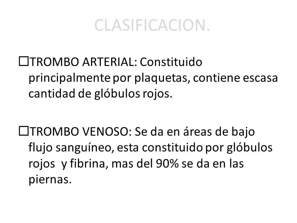 CLASIFICACION. TROMBO ARTERIAL: Constituido principalmente por plaquetas, contiene escasa cantidad de glóbulos rojos.