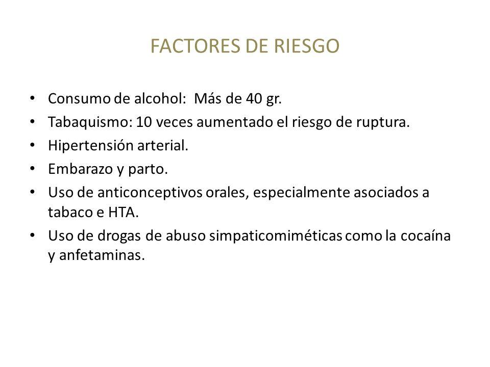 FACTORES DE RIESGO Consumo de alcohol: Más de 40 gr.
