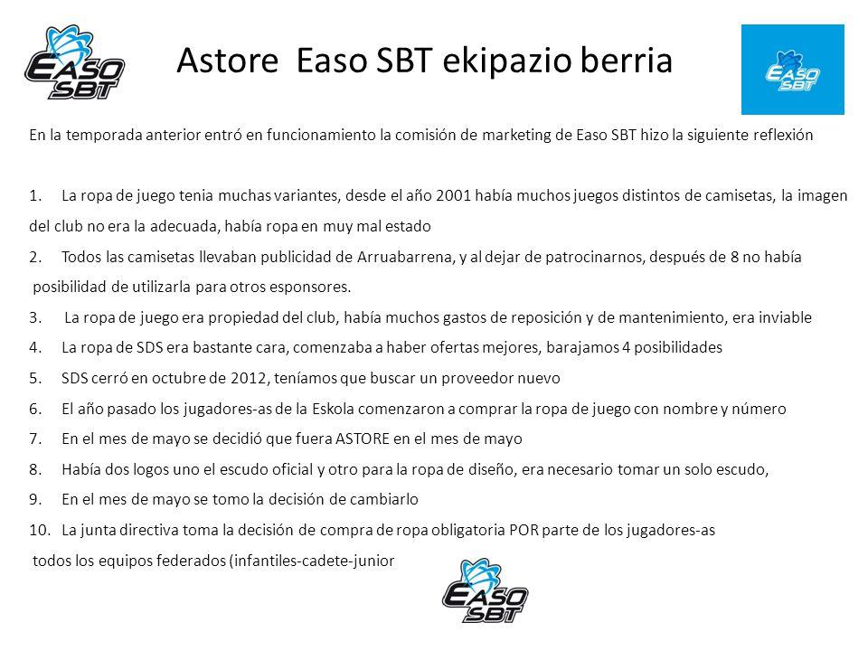 En la temporada anterior entró en funcionamiento la comisión de marketing de Easo SBT hizo la siguiente reflexión