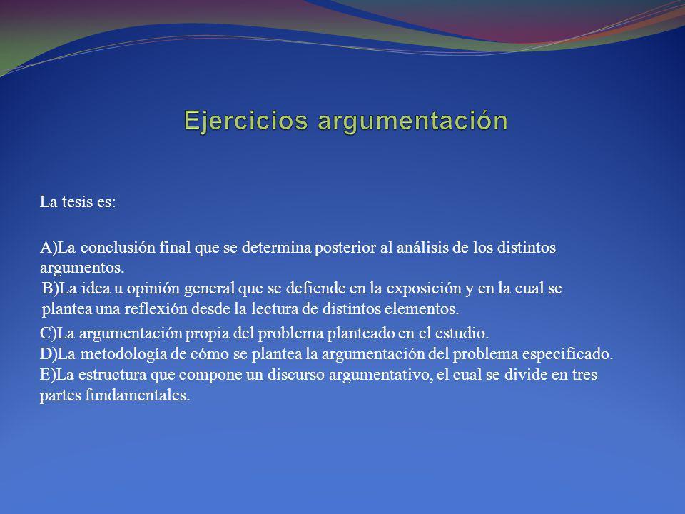 Ejercicios argumentación