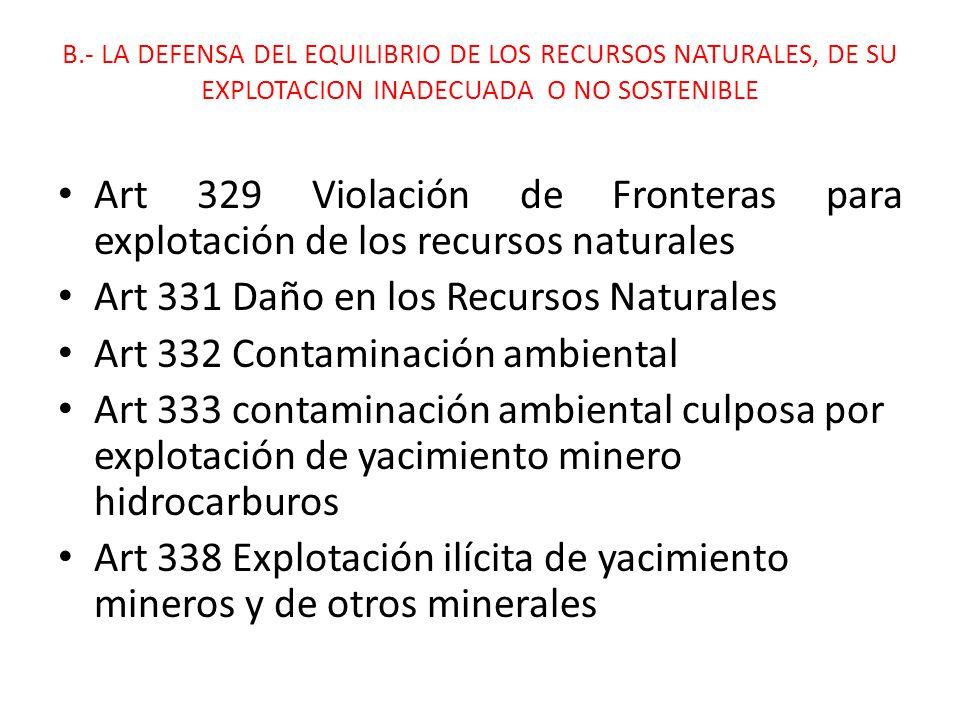 Art 331 Daño en los Recursos Naturales Art 332 Contaminación ambiental