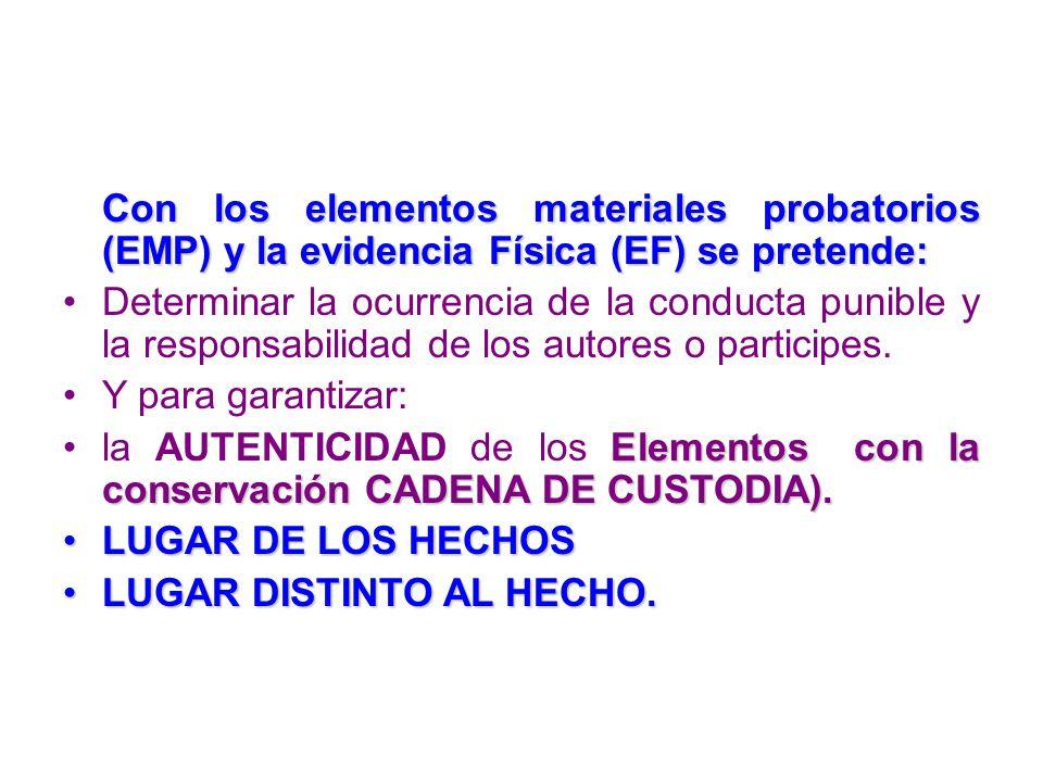 Con los elementos materiales probatorios (EMP) y la evidencia Física (EF) se pretende: