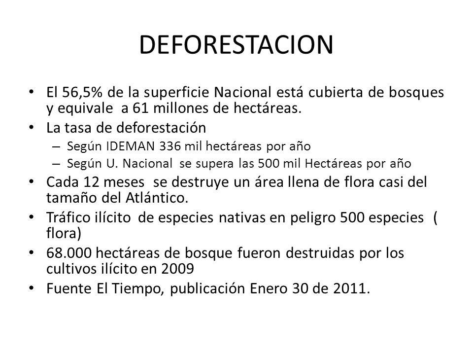 DEFORESTACION El 56,5% de la superficie Nacional está cubierta de bosques y equivale a 61 millones de hectáreas.