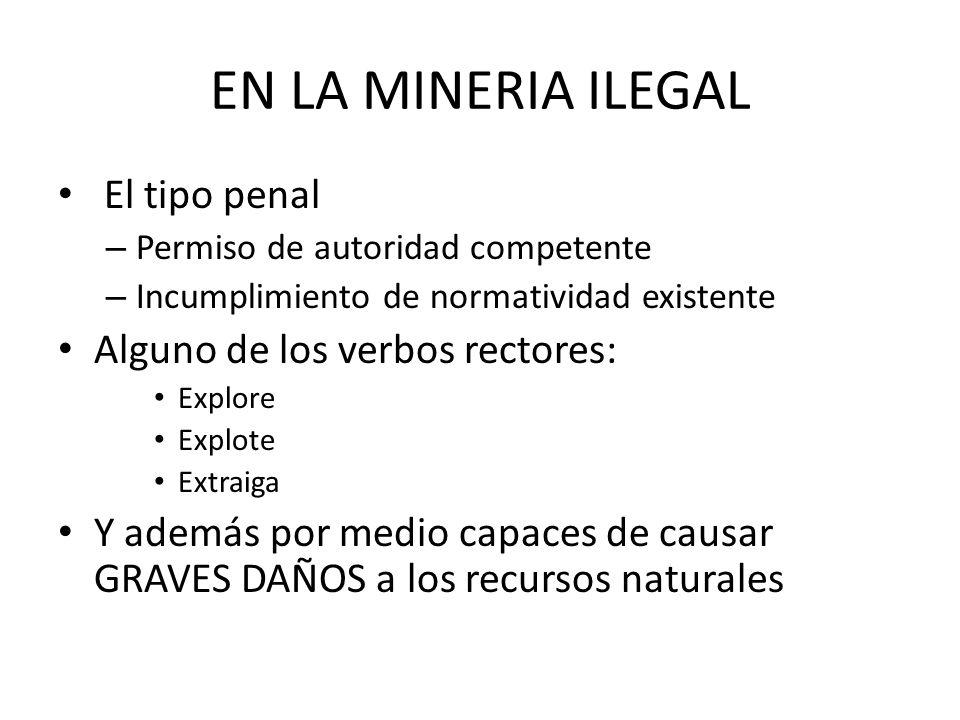 EN LA MINERIA ILEGAL El tipo penal Alguno de los verbos rectores: