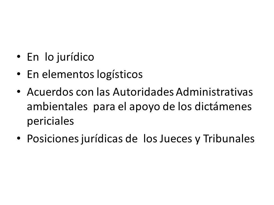 En lo jurídico En elementos logísticos. Acuerdos con las Autoridades Administrativas ambientales para el apoyo de los dictámenes periciales.