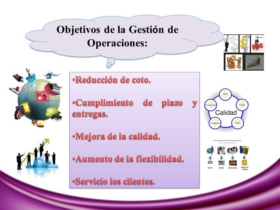 Objetivos de la Gestión de Operaciones: