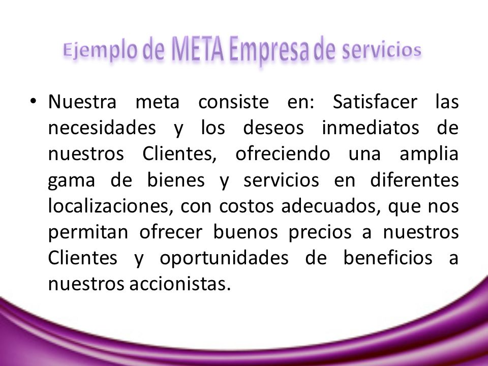 Ejemplo de META Empresa de servicios