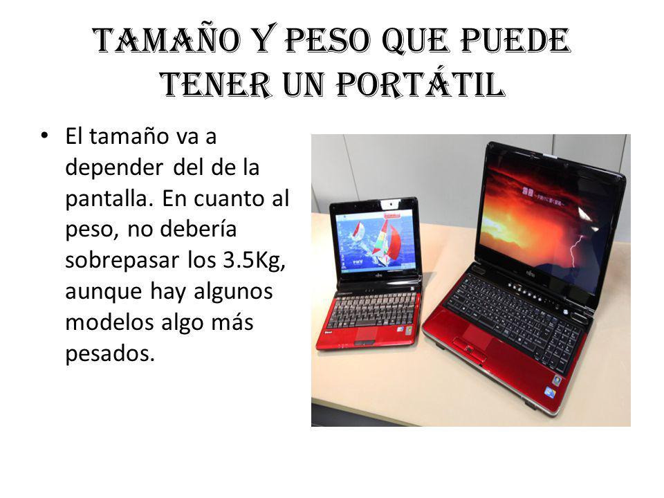 Tamaño y peso que puede tener un portátil