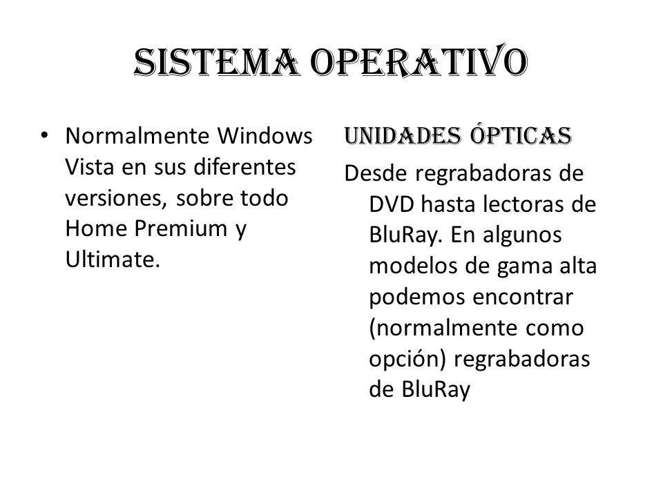 Sistema operativo Normalmente Windows Vista en sus diferentes versiones, sobre todo Home Premium y Ultimate.