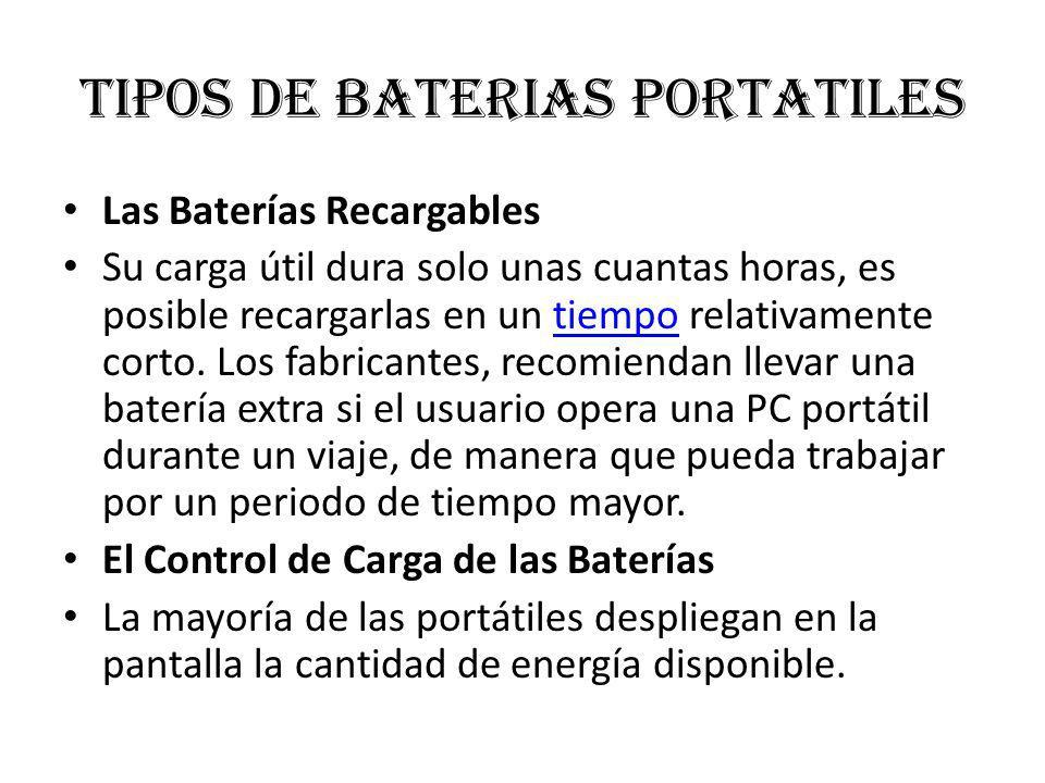 Tipos de baterias portatiles