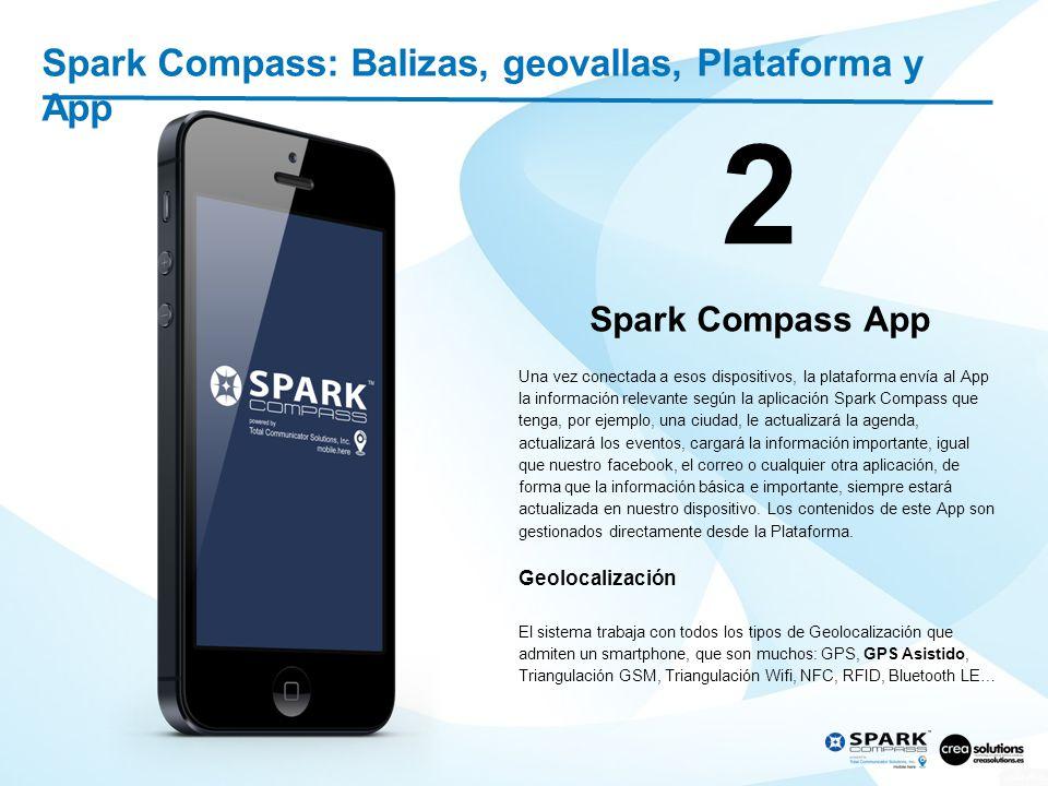 Spark Compass: Balizas, geovallas, Plataforma y App