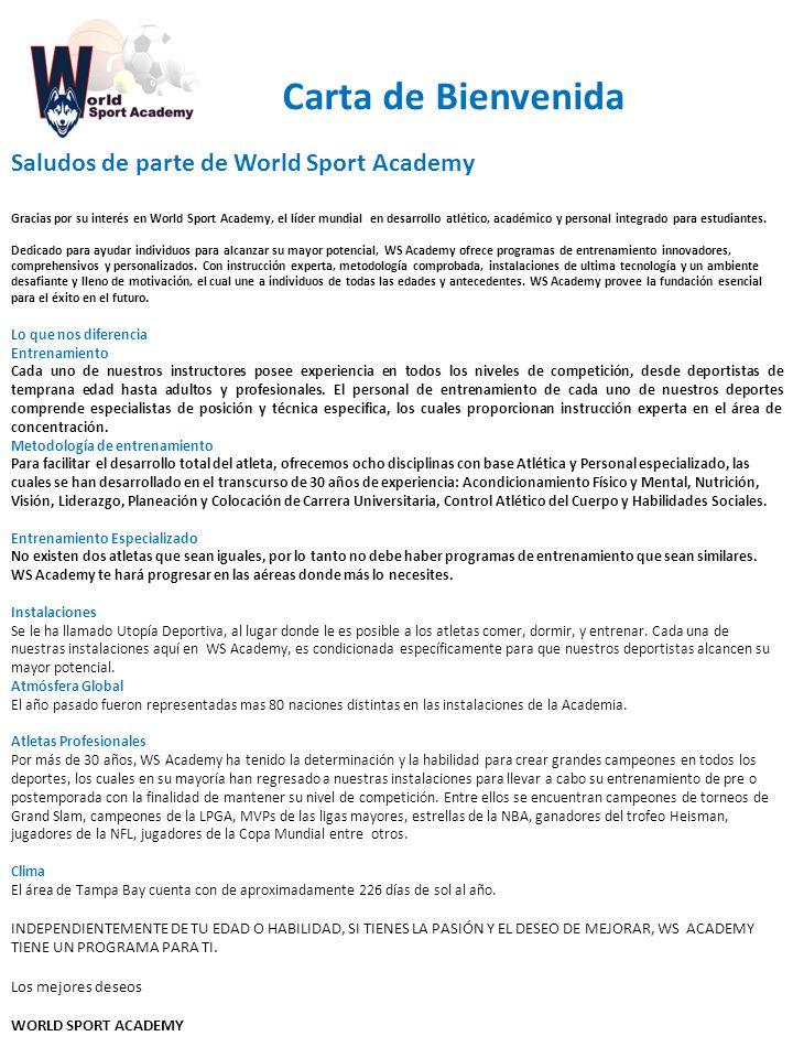 Carta de Bienvenida Saludos de parte de World Sport Academy
