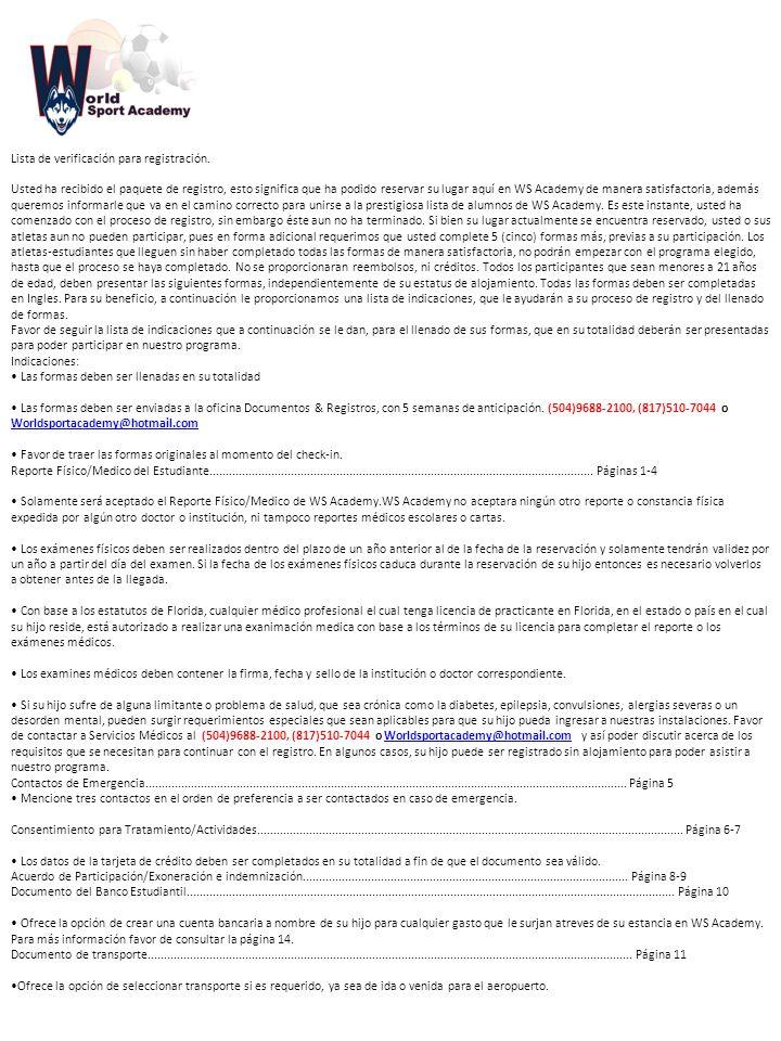 Lista de verificación para registración.