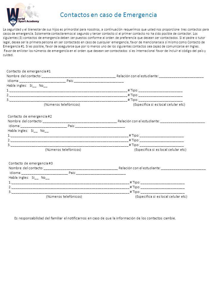 Contactos en caso de Emergencia