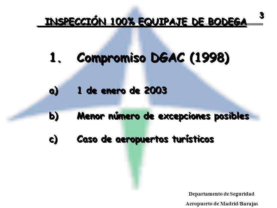 1. Compromiso DGAC (1998) INSPECCIÓN 100% EQUIPAJE DE BODEGA