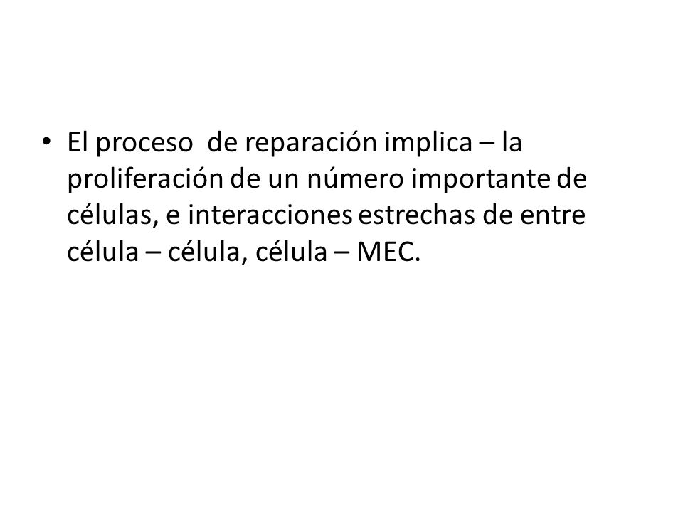 El proceso de reparación implica – la proliferación de un número importante de células, e interacciones estrechas de entre célula – célula, célula – MEC.