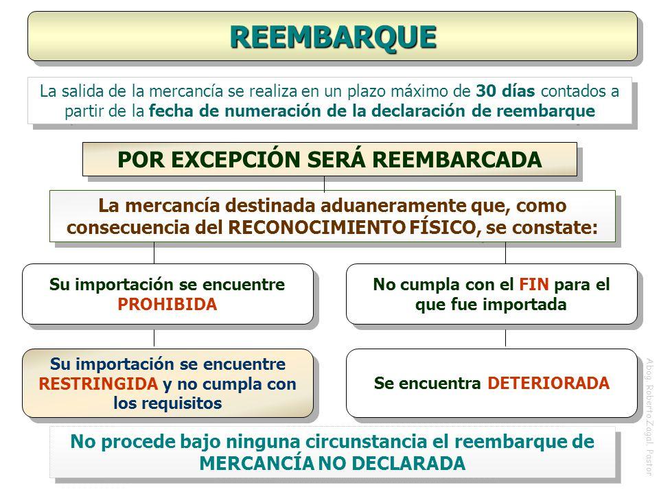 REEMBARQUE POR EXCEPCIÓN SERÁ REEMBARCADA
