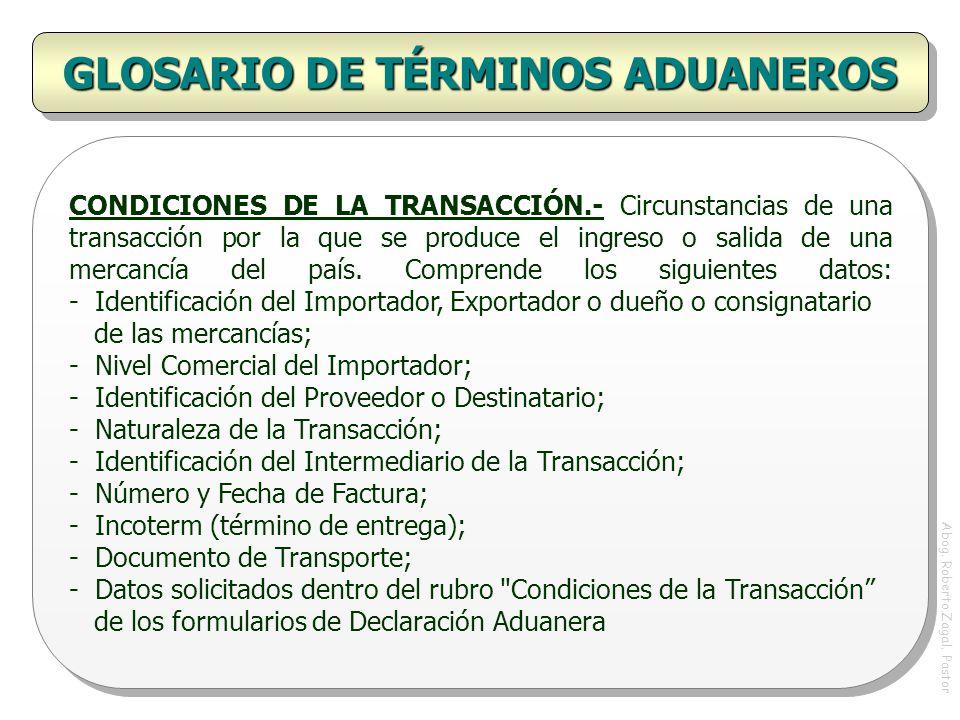 GLOSARIO DE TÉRMINOS ADUANEROS