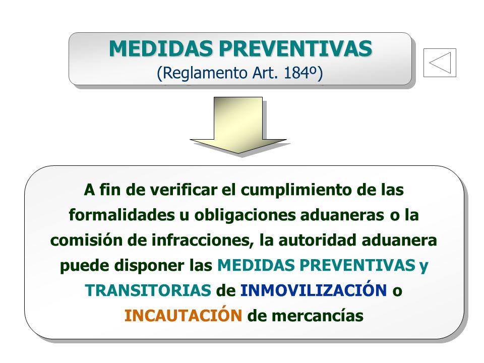 MEDIDAS PREVENTIVAS (Reglamento Art. 184º)