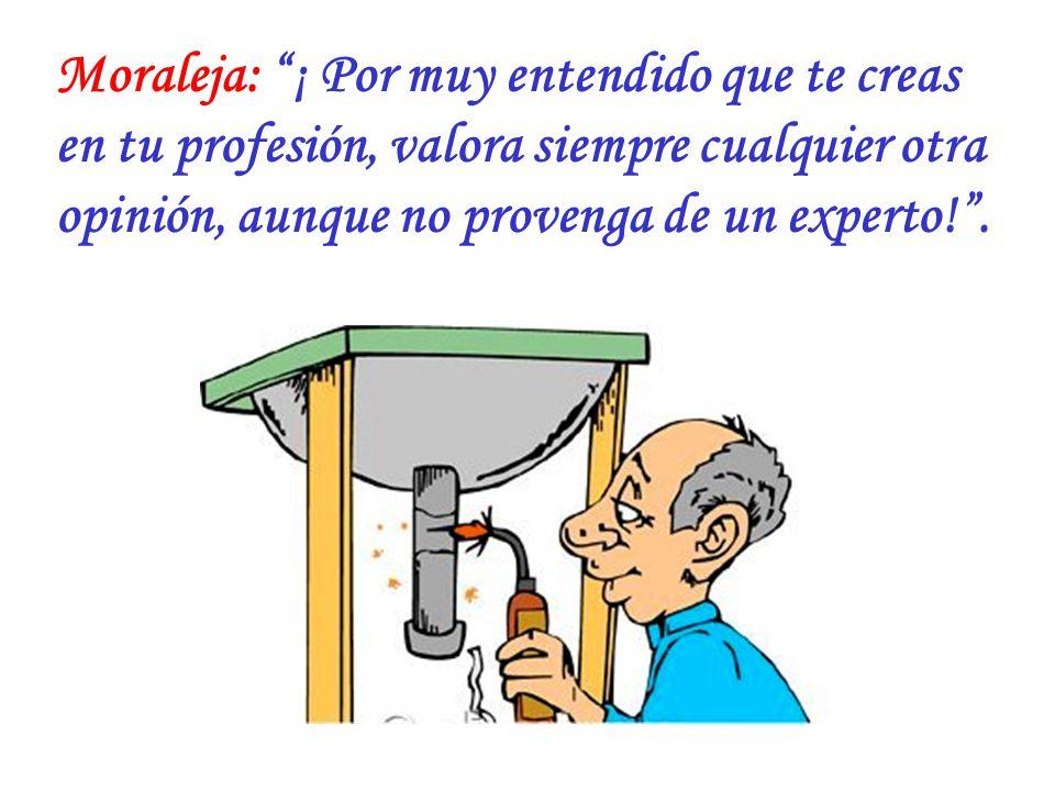 Moraleja: ¡ Por muy entendido que te creas en tu profesión, valora siempre cualquier otra opinión, aunque no provenga de un experto! .