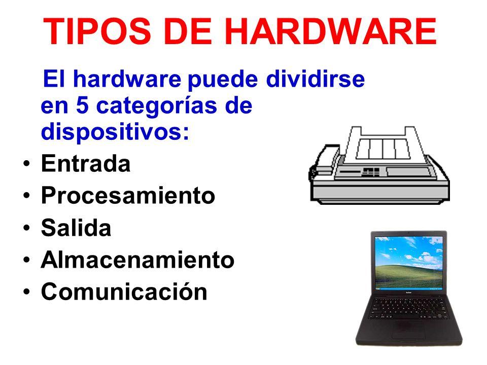 TIPOS DE HARDWARE El hardware puede dividirse en 5 categorías de dispositivos: Entrada. Procesamiento.