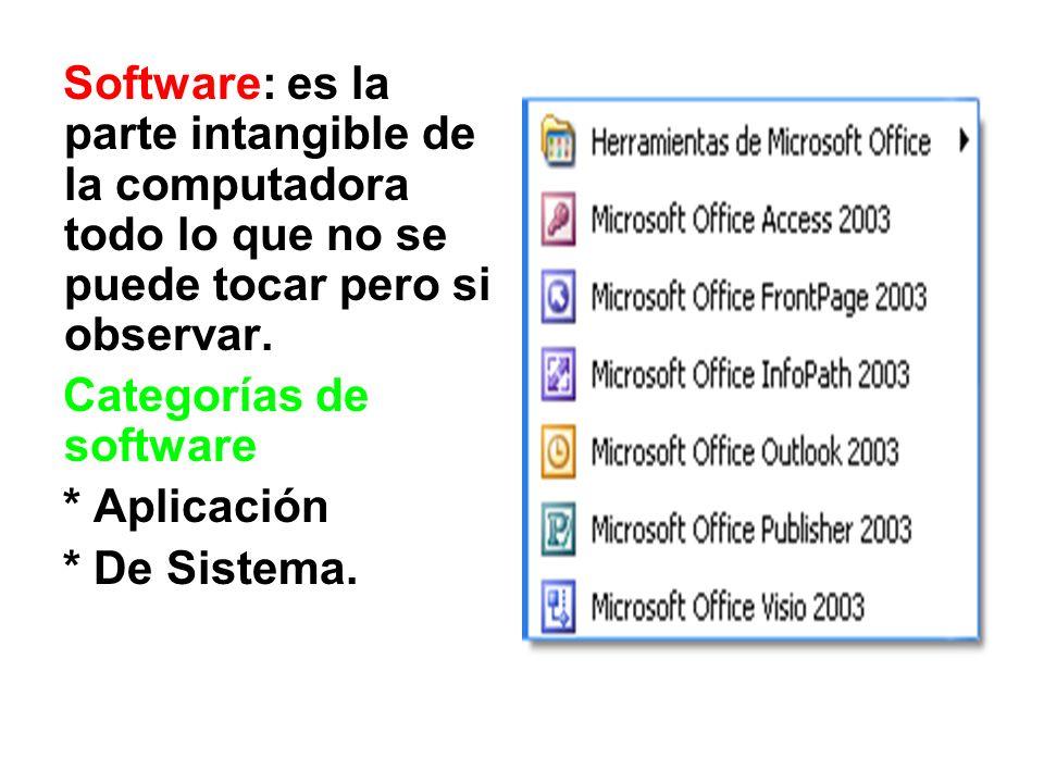 Software: es la parte intangible de la computadora todo lo que no se puede tocar pero si observar.