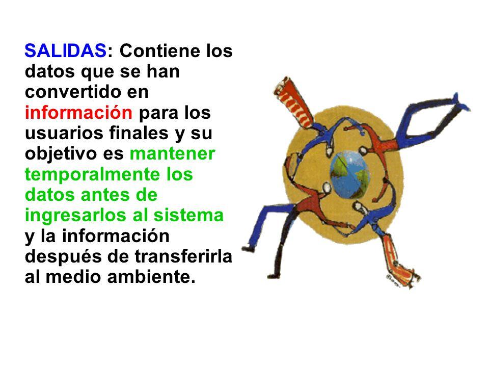 SALIDAS: Contiene los datos que se han convertido en información para los usuarios finales y su objetivo es mantener temporalmente los datos antes de ingresarlos al sistema y la información después de transferirla al medio ambiente.