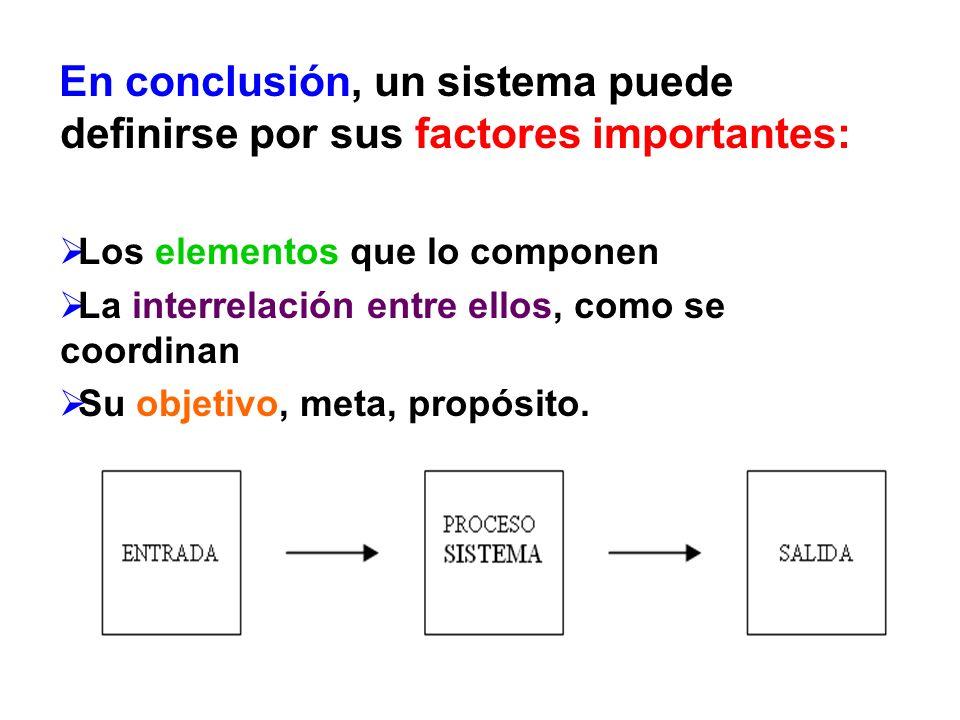 En conclusión, un sistema puede definirse por sus factores importantes: