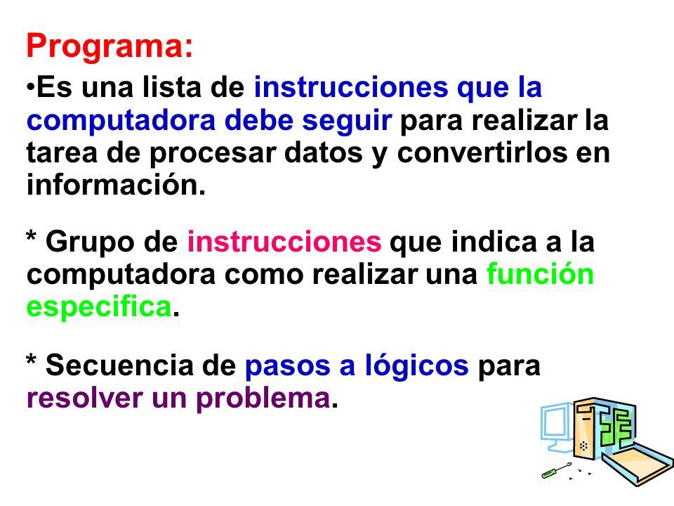 Programa: Es una lista de instrucciones que la computadora debe seguir para realizar la tarea de procesar datos y convertirlos en información.