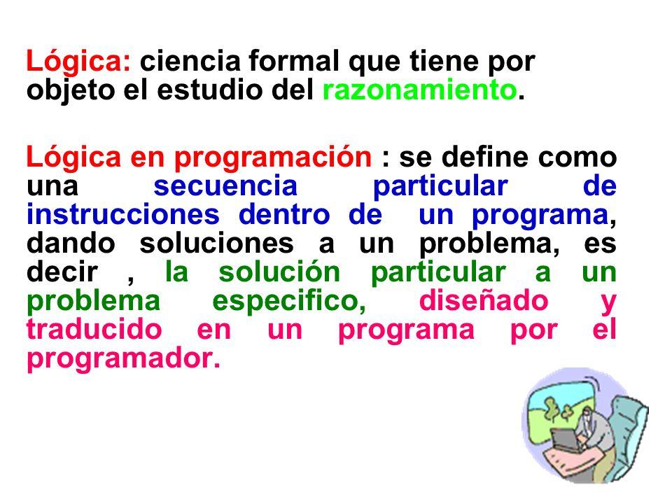 Lógica: ciencia formal que tiene por objeto el estudio del razonamiento.