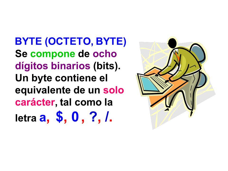 BYTE (OCTETO, BYTE) Se compone de ocho dígitos binarios (bits)