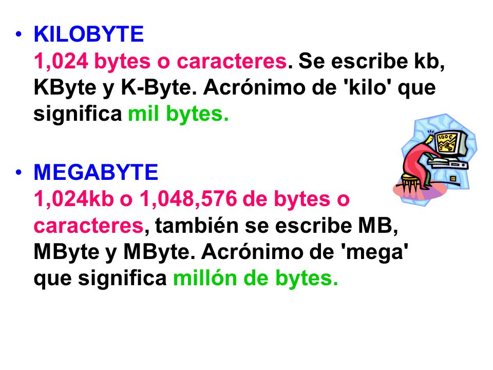 KILOBYTE 1,024 bytes o caracteres. Se escribe kb, KByte y K-Byte