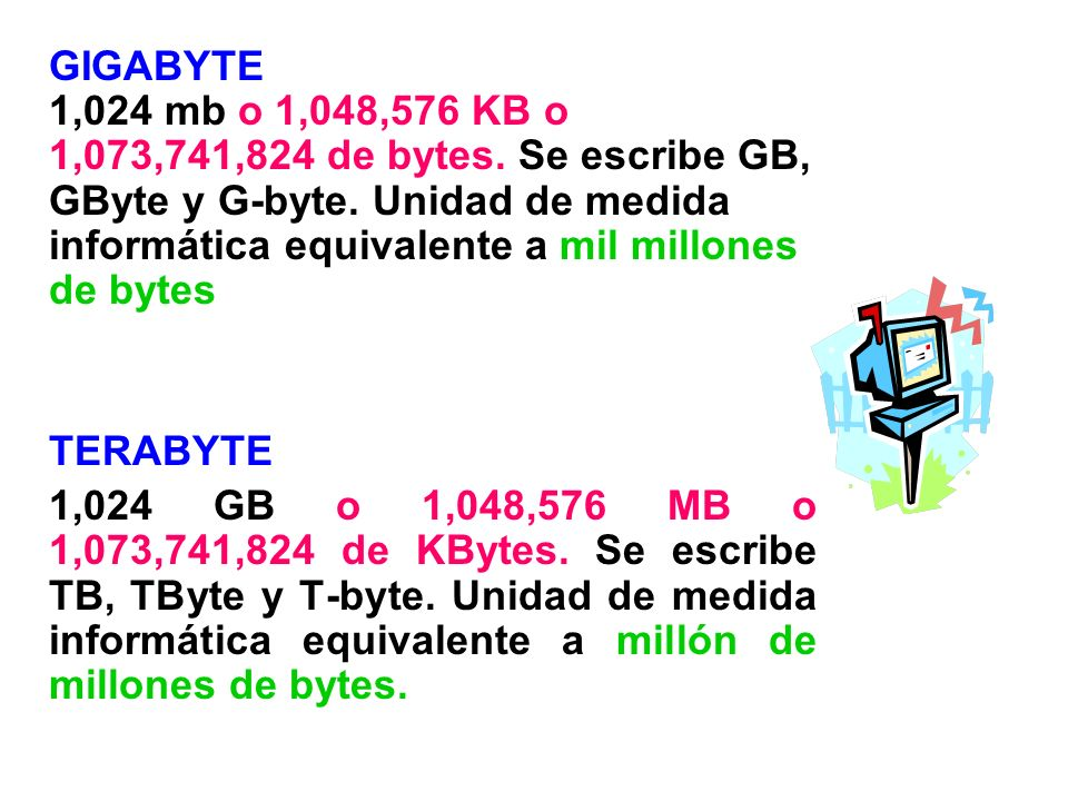 GIGABYTE 1,024 mb o 1,048,576 KB o 1,073,741,824 de bytes