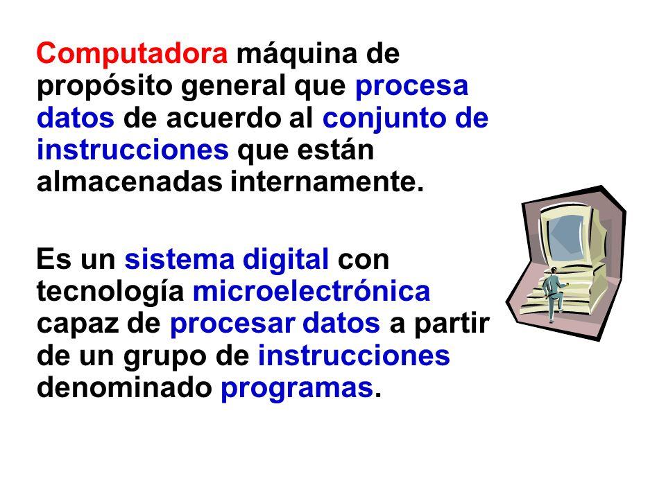 Computadora máquina de propósito general que procesa datos de acuerdo al conjunto de instrucciones que están almacenadas internamente.