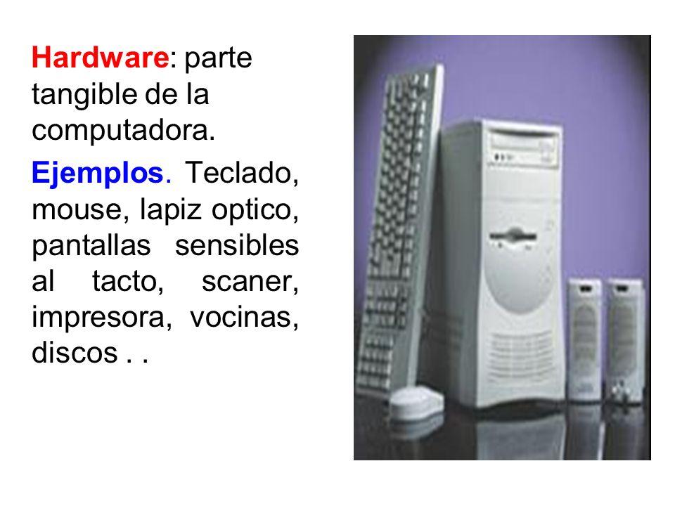 Hardware: parte tangible de la computadora.