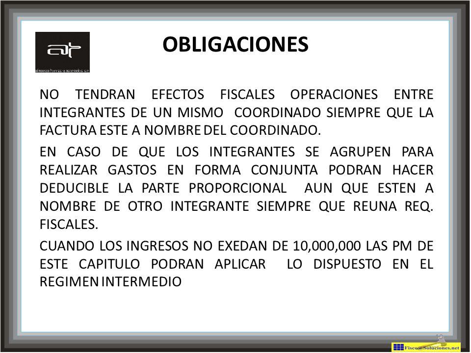 OBLIGACIONES NO TENDRAN EFECTOS FISCALES OPERACIONES ENTRE INTEGRANTES DE UN MISMO COORDINADO SIEMPRE QUE LA FACTURA ESTE A NOMBRE DEL COORDINADO.