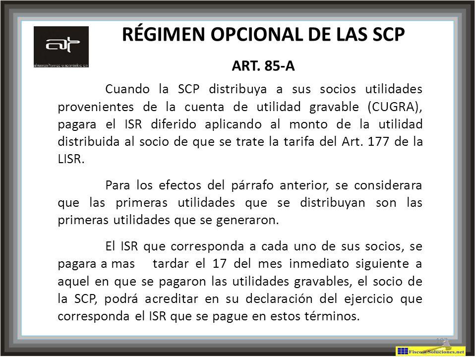 RÉGIMEN OPCIONAL DE LAS SCP