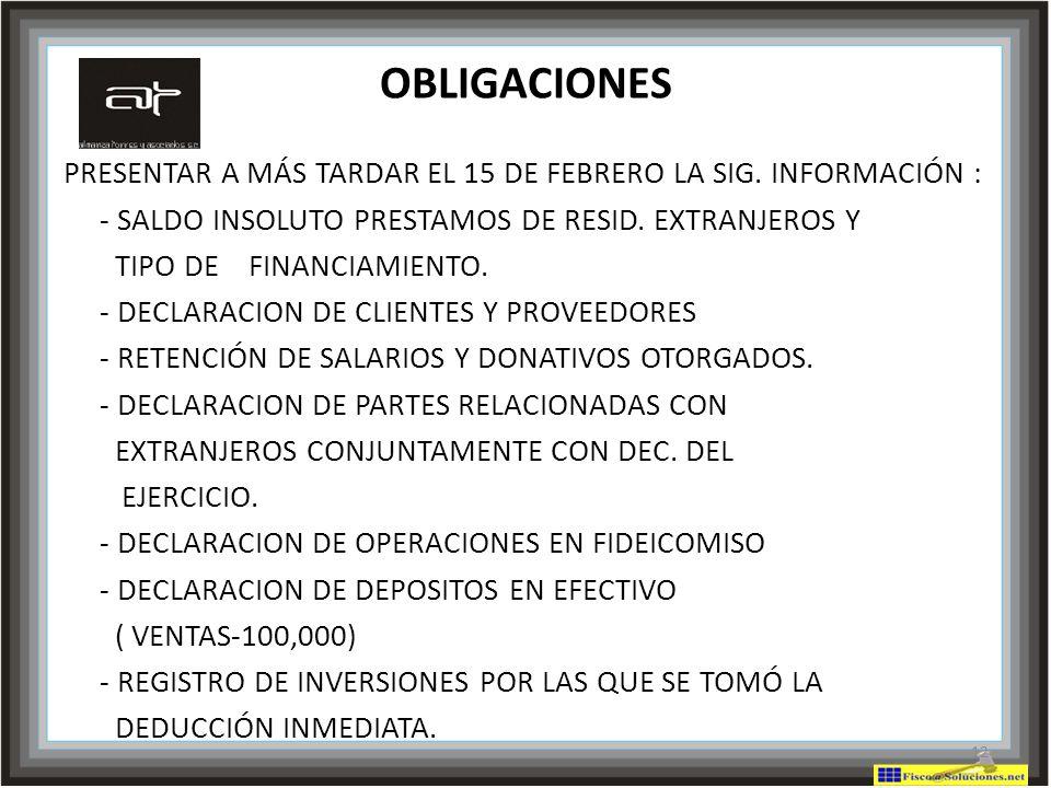 OBLIGACIONES PRESENTAR A MÁS TARDAR EL 15 DE FEBRERO LA SIG. INFORMACIÓN : - SALDO INSOLUTO PRESTAMOS DE RESID. EXTRANJEROS Y.