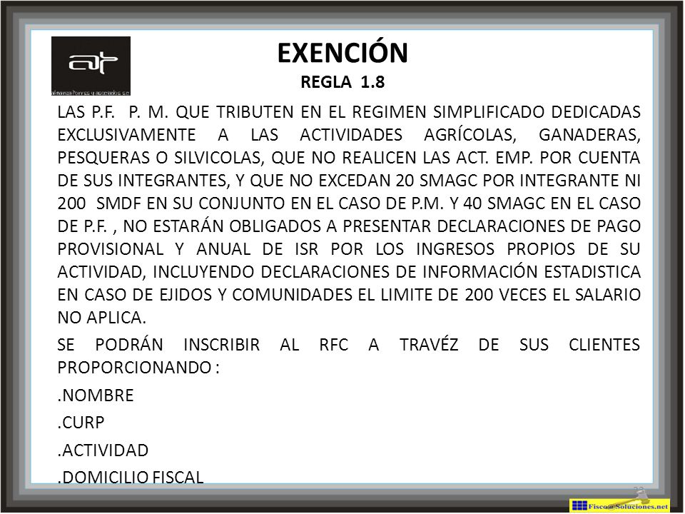 EXENCIÓN REGLA 1.8