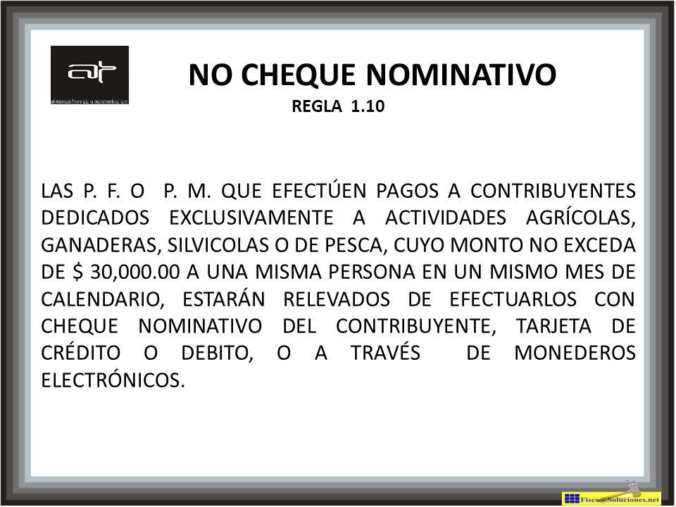 NO CHEQUE NOMINATIVO REGLA 1.10