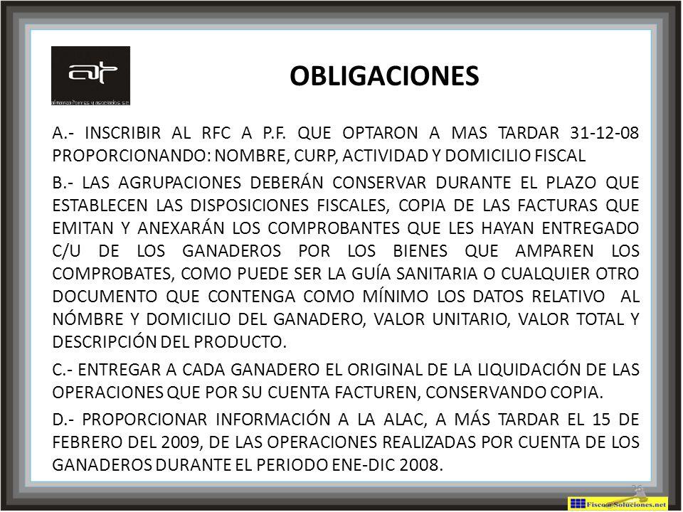 OBLIGACIONES A.- INSCRIBIR AL RFC A P.F. QUE OPTARON A MAS TARDAR 31-12-08 PROPORCIONANDO: NOMBRE, CURP, ACTIVIDAD Y DOMICILIO FISCAL.
