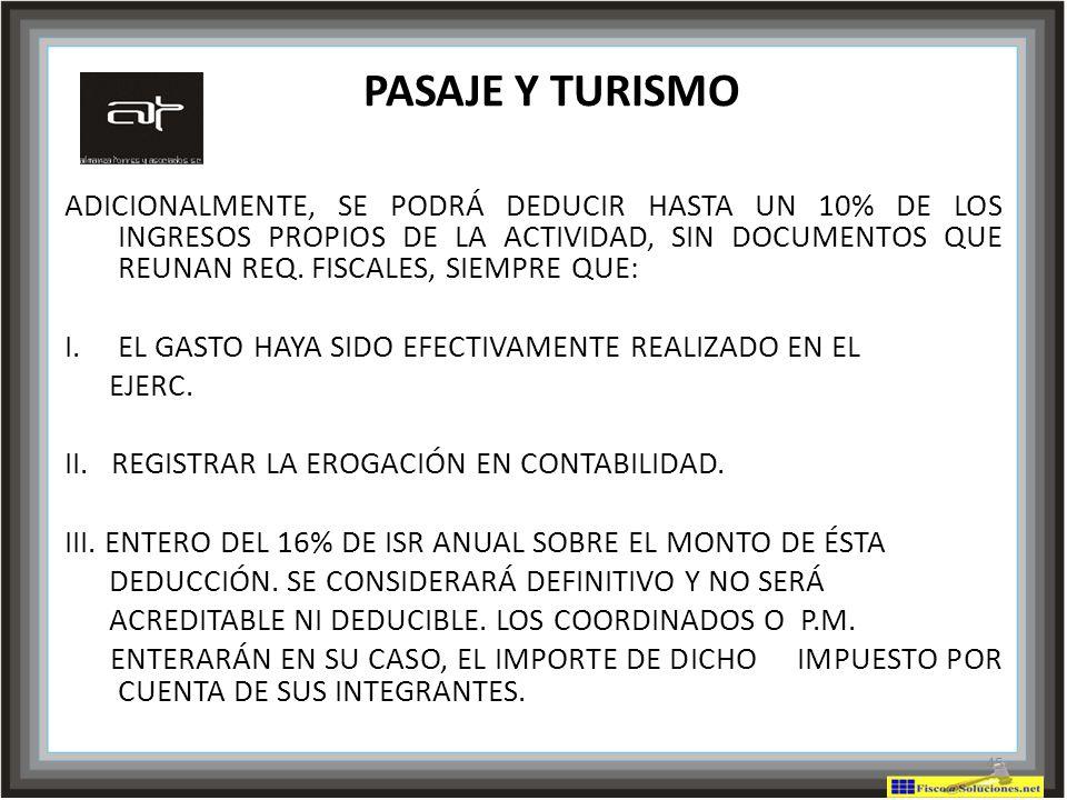 PASAJE Y TURISMO