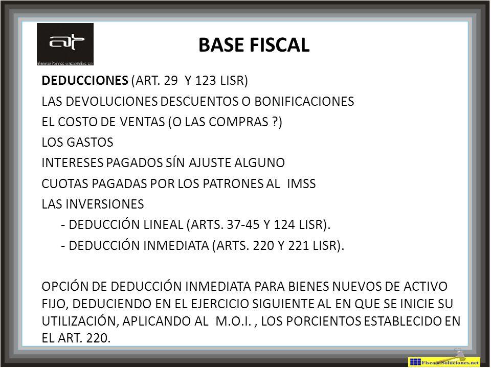 BASE FISCAL DEDUCCIONES (ART. 29 Y 123 LISR)