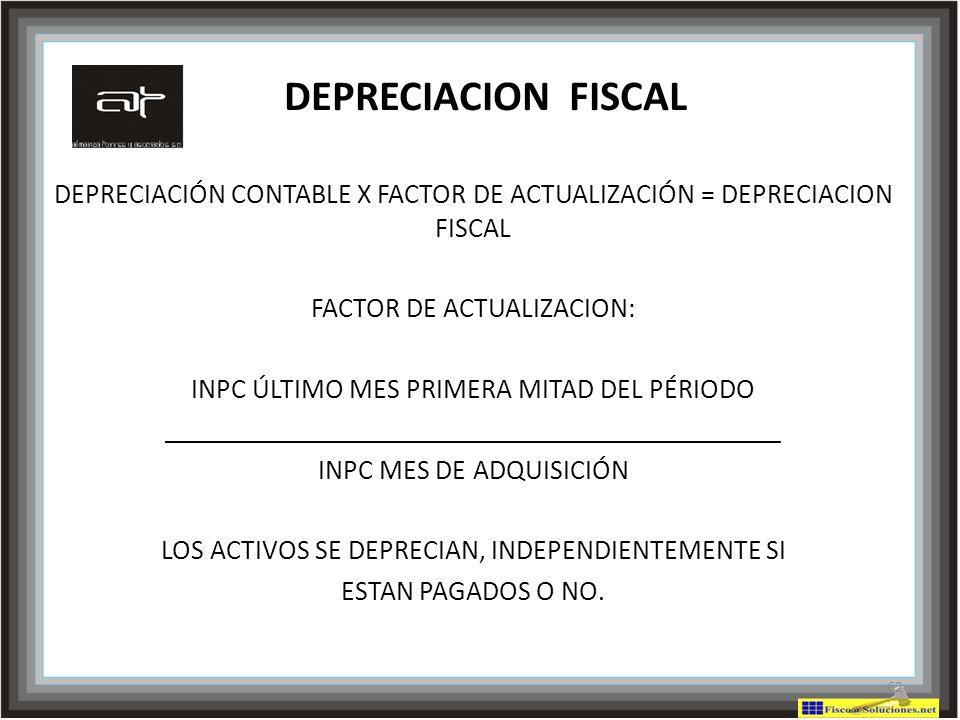DEPRECIACION FISCAL DEPRECIACIÓN CONTABLE X FACTOR DE ACTUALIZACIÓN = DEPRECIACION FISCAL. FACTOR DE ACTUALIZACION: