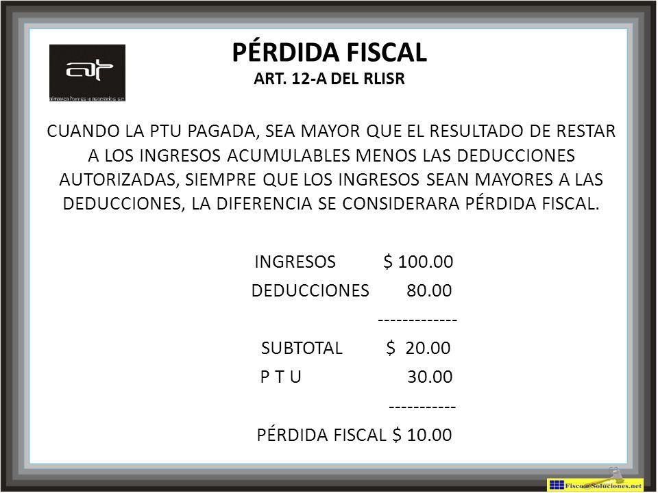 PÉRDIDA FISCAL ART. 12-A DEL RLISR